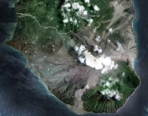 Vulkanområde sør på Montserrat